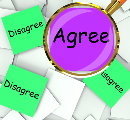 disagreed: Agree Disagree sticky-note Papers Meaning For Or Against Stock Photo