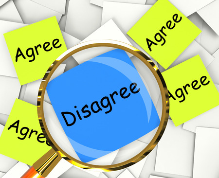 disagreed: Agree Disagree sticky-note Papers Showing Supporting Or Contrary To