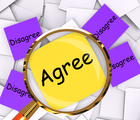 disagreed: Agree Disagree sticky-note Papers Meaning Opinion Agreement Or Disagreement Stock Photo