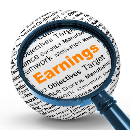 lucrative: Earnings Magnifier Definition Shows Lucrative Incomes Revenues Or Profits Stock Photo
