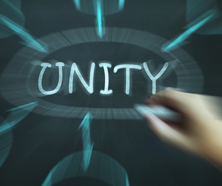 unify: Unity Diagram Meaning Working As Team And Cooperation Stock Photo