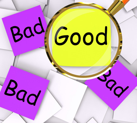 dreadful: Good Bad Post-It Papers Showing Excellent Or Dreadful