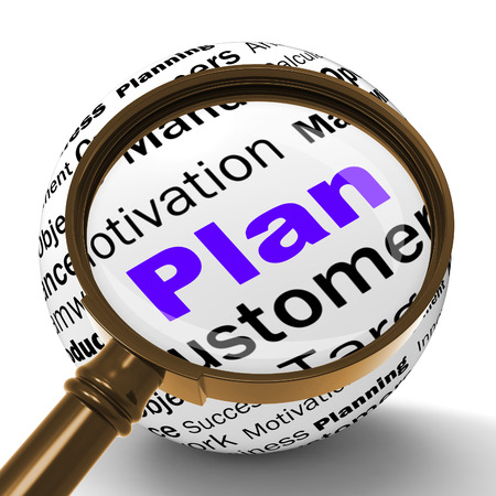 planned: Plan Magnifier Definition Meaning Planning Aiming Or Objective Managing Stock Photo