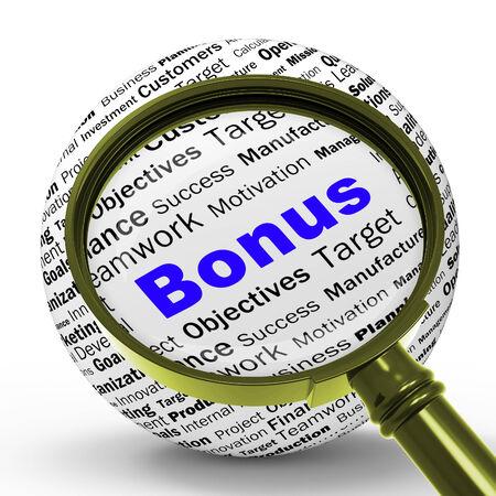 financial reward: Bonus Magnifier Definition Showing Financial Reward Bundle Or Benefit Stock Photo
