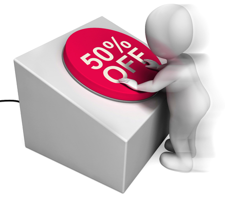 Fifty Percent Off Pressed Meaning Half-Price Bargain Stock Photo