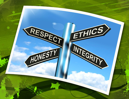 respect: Respect Ethics Honest Integrity Sign Meaning Good Qualities Stock Photo