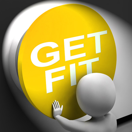 get a workout: Get Fit Pressed Showing Physical And Aerobic Activity Stock Photo