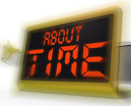 overdue: About Time Digital Clock Showing Late Or Overdue Stock Photo
