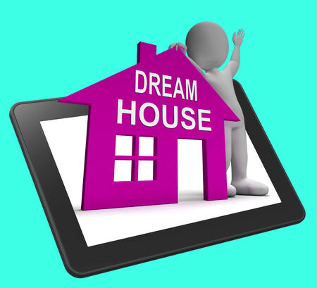 droomhuis: Dream House Home Tablet Showing Finding Or Designing Perfect Property