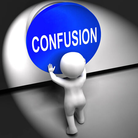 befuddled: Confusion Pressed Meaning Puzzled Bewildered And Perplexed Stock Photo