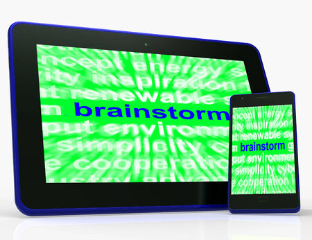 creatively: Brainstorm Tablet Meaning Thinking Creatively Problem Solving And Ideas Stock Photo