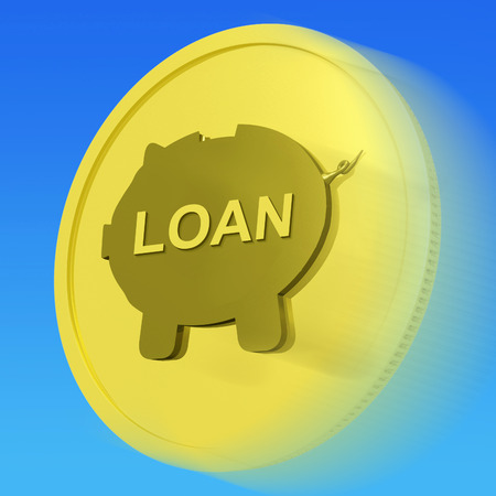 borrowing: Loan Gold Coin Meaning Credit Borrowing Or Investment Stock Photo
