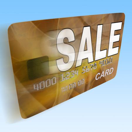 debit card: Sale On Credit Debit Card Flying Showing Offer Bargain Promotion