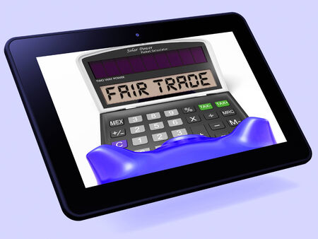 fairtrade: Fair Trade Calculator Tablet Showing Ethical Products And Buying