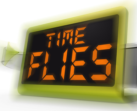 time flies: Time Flies Digital Clock Meaning Busy And Goes By Quickly Stock Photo