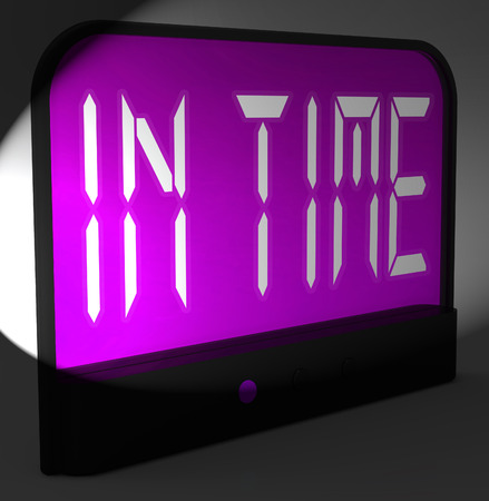 punctual: In Time Digital Clock Meaning Punctual Or Not Late Stock Photo