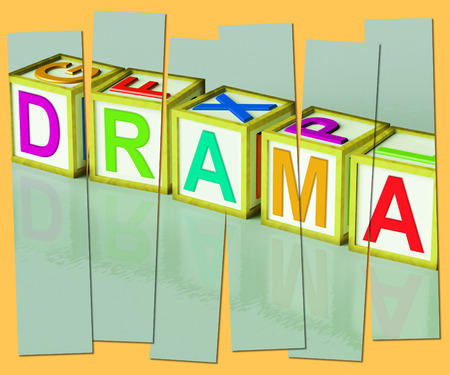 theatrics: Drama Word Showing Roleplay Theatre Or Production Stock Photo