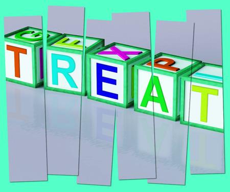 rewarded: Tratar Palabra Significado Ocurrencia o un regalo especial