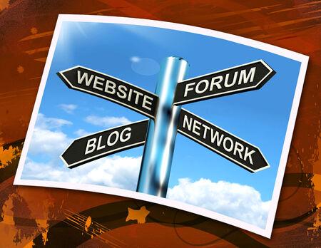 Website Forum Blog Network Sign Showing Internet