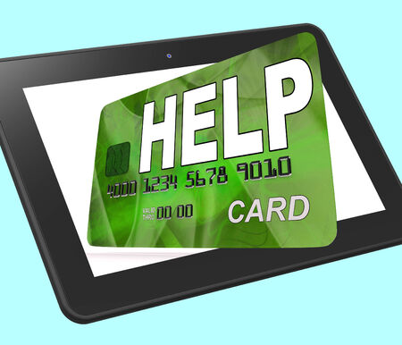 calculated: Help Bank Card Calculated Showing Financial Support And Giving Stock Photo