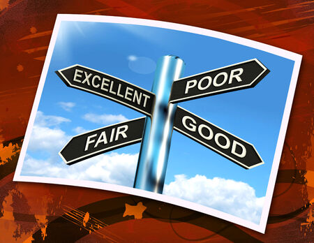 assessing: Excellent Poor Fair Good Sign Meaning Performance Review Stock Photo