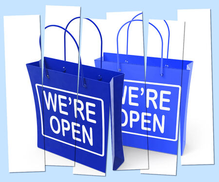 were: Were Open Shopping Bags Showing Grand Opening or Launch