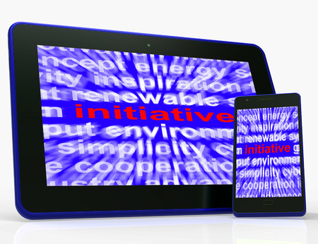 orientated: Initiative Tablet Meaning Motivation Leadership And Taking Action Stock Photo