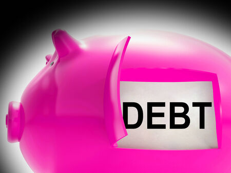 obliged: Debt Piggy Bank Message Meaning Arrears And Money Owed Stock Photo