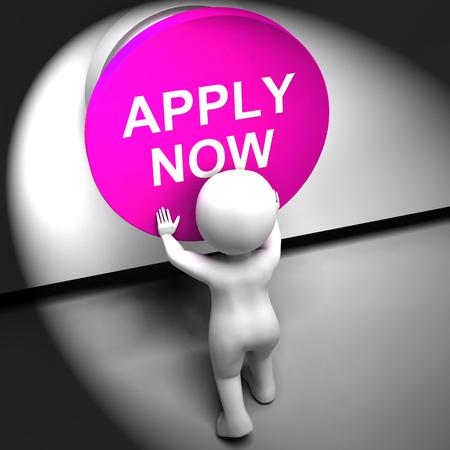 job opening: Aplicar Ahora Presionado Mostrando Oportunidad de Empleo y la aplicaci�n Foto de archivo
