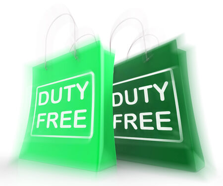 exempt: Duty Free Shopping Bags Representing Tax Exempt Discounts Stock Photo