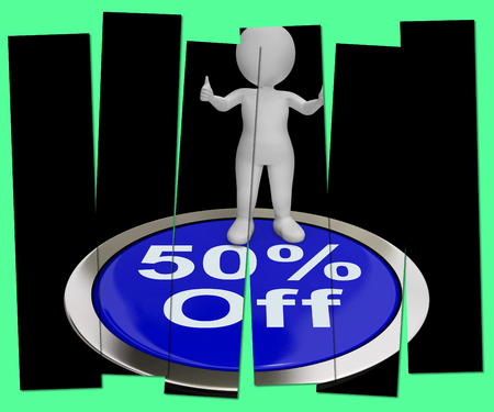 markdown: Fifty Percent Off Pressed Showing 50 Price Markdown Stock Photo