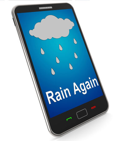 squall: Rain Again On Mobile Showing Wet Miserable Weather Stock Photo