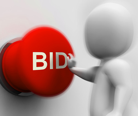 winning bidder: Bid Pressed Showing Auction Bidding And Reserve Stock Photo