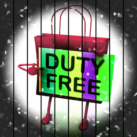 exempt: Duty Free Shopping Bag Representing Tax Exempt Discounts