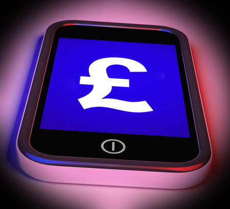 gbp: Pound Sign On Mobile Showing British Money Gbp Stock Photo