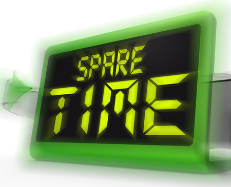 spare time: Spare Time Digital Clock Meaning Leisure Or Relaxation