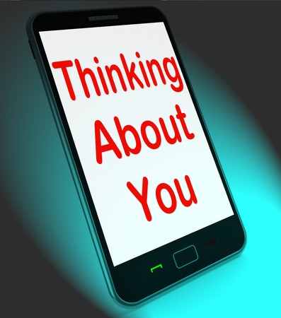 get well: Thinking About You On Mobile Meaning Love Miss Get Well Stock Photo