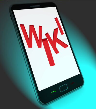 wiki: Wiki On Mobile Showing Online Information Knowledge Or Encyclopaedia