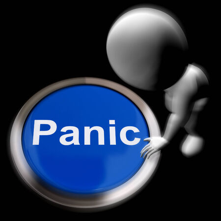 panicky: Panic Pressed Showing Alarm Distress And Crisis Stock Photo