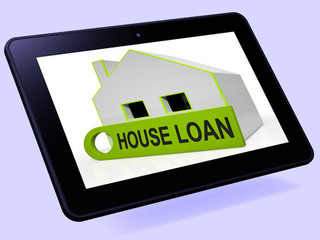 borrowing: House Loan Home Tablet Showing Credit Borrowing And Mortgage