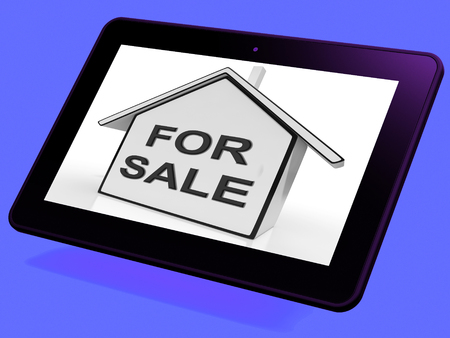 auctioning: For Sale House Tablet Meaning Selling Or Auctioning Home