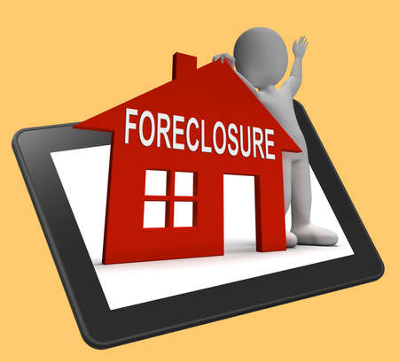 foreclose: Foreclosure House Tablet Showing Repossession And Sale By Lender Stock Photo