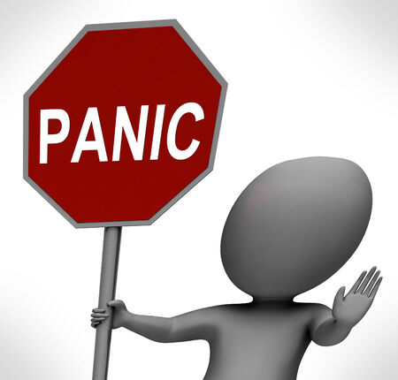 panicky: Panic Red Stop Sign Showing Stopping Anxiety Panicking Stock Photo