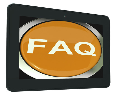 asked: FAQ Tablet Showing Frequently Asked Question