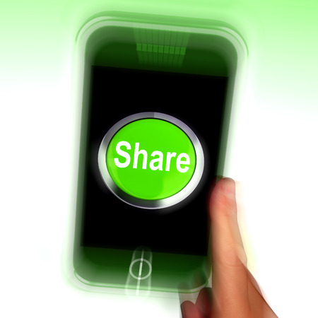 shared sharing: Share Mobile Meaning Online Sharing And Community Stock Photo