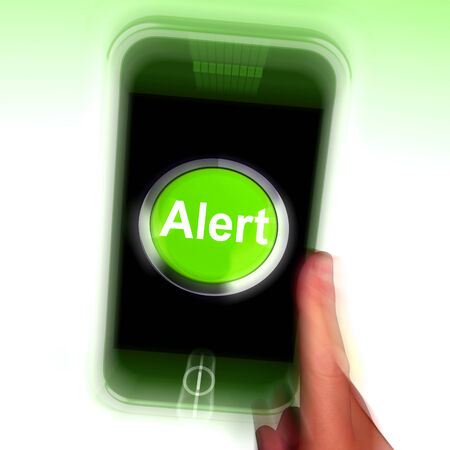 Alert Mobile Showing Alerting Notification Or Reminder photo
