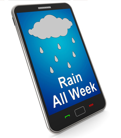 squall: Rain All Week On Mobile Showing Wet Miserable Weather Stock Photo