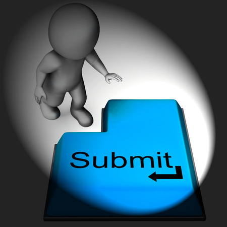 submitting: Submit Keyboard Showing Submitting Or Applying On Internet