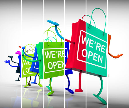 Were Open Shopping Bags Showing Shopping Availability and Grand Opening photo