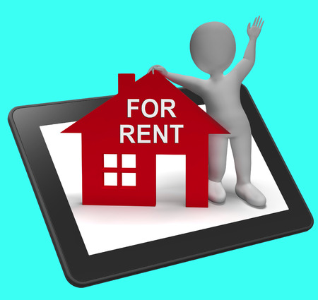 For Rent House Tablet Showing Rental Or Lease Property 스톡 콘텐츠